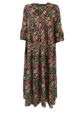 Black Colour - Viola Floral Boho Dress