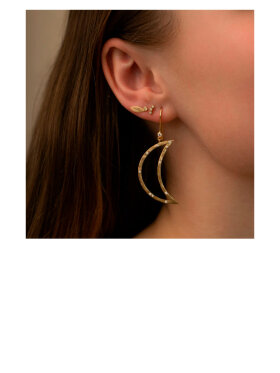 Stine A - Big Bella Moon Earring with Stones
