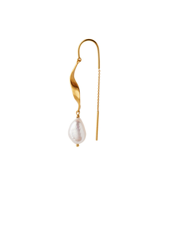 Stine A - Long Twisted Earring with Baroque Pearl