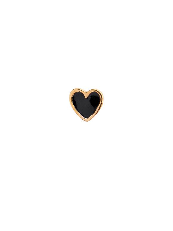 Stine A - Petit Love Heart Black Enamel Gold
